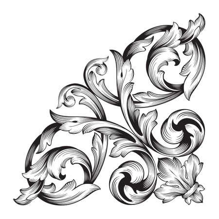 ヴィンテージ バロック要素飾り。レトロなパターンのアンティーク スタイルのアカンサス。装飾的なデザイン要素フィリグリー書道ベクトル。