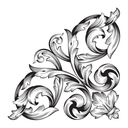 vintage baroque element ornament. Retro pattern antique style acanthus. Decorative design element filigree calligraphy vector.