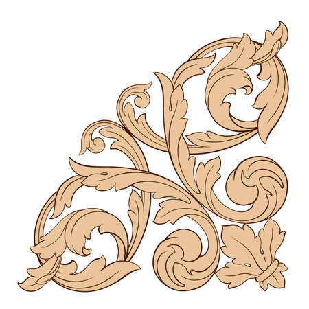 carving: vintage baroque element ornament. Retro pattern antique style acanthus. Decorative design element filigree calligraphy vector.