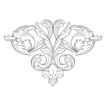 vintage barokke element ornament. Retro patroon antieke stijl Acanthus. Decoratief element filigraan kalligrafie vector.