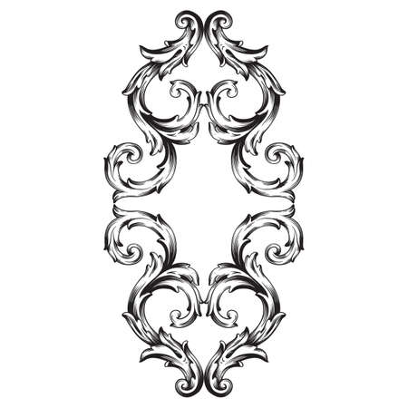 Vintage baroque frame scroll ornament engraving border floral retro pattern antique style acanthus foliage swirl decorative design element filigree calligraphy vector | damask - stock vector Illustration