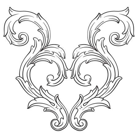 Vintage barokke lijst scroll ornament gravure grens bloemen retro patroon antieke stijl acanthus gebladerte swirl decoratief element filigraan kalligrafie vector | damast - voorraad vector Stock Illustratie