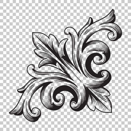 Isolate vintage corner baroque ornament retro pattern antique style acanthus. Illustration
