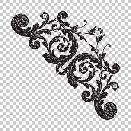 Isolate vintage baroque ornament retro pattern antique style acanthus.