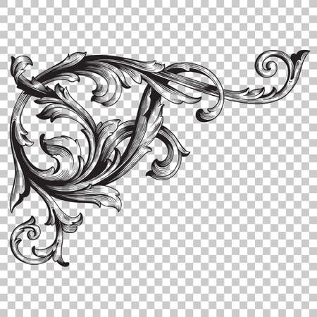 Isolate vintage corner baroque ornament retro pattern antique style acanthus. Decorative design element filigree calligraphy vector. You can use for wedding decoration of greeting card, laser cutting. Illustration