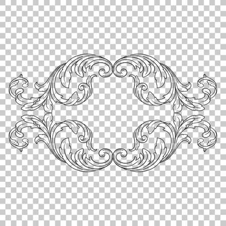 chinaware: Isolate vintage baroque ornament retro pattern antique style acanthus.