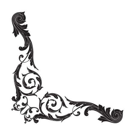 baroque: Vintage baroque frame scroll ornament engraving border floral retro pattern antique style acanthus foliage swirl decorative design element filigree calligraphy vector | damask - stock vector Illustration