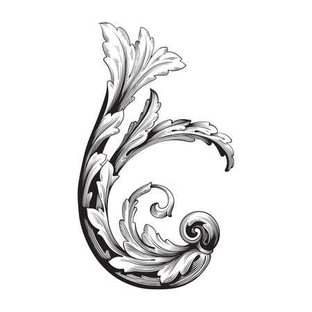 Ensemble vectoriel baroque d'éléments vintage pour le design. Élément de conception décoratif vecteur de calligraphie en filigrane. Vous pouvez utiliser pour la décoration de mariage de carte de voeux et de découpe au laser. Banque d'images - 82989683