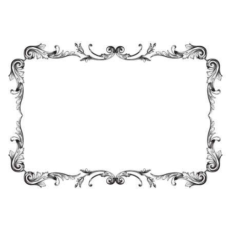 Vintage baroque frame scroll ornament engraving border floral retro pattern antique style acanthus foliage swirl decorative design element filigree calligraphy vector | damask - stock vector 일러스트