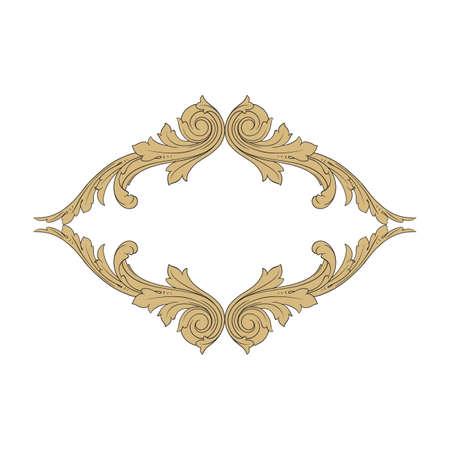 Vintage baroque frame scroll ornament engraving border floral retro pattern antique style acanthus foliage swirl decorative design element filigree calligraphy vector | damask - stock vector Illustration