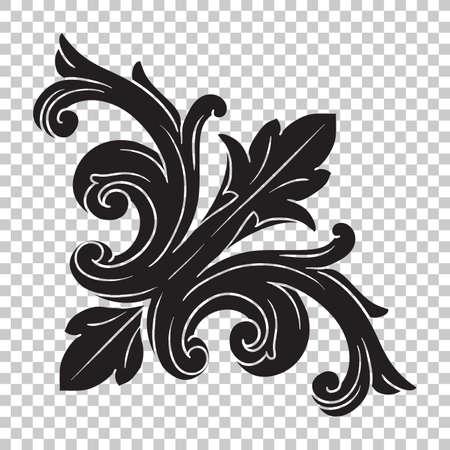 Aislar la vendimia ornamentación barroca retro patrón de acanto estilo antiguo. Decorativo elemento personal filigrana vector de la caligrafía. Se puede utilizar para la decoración de la tarjeta de felicitación y de corte por láser. Ilustración de vector