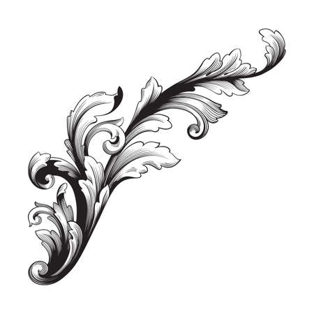 Baroque vector vintage elements for design. Decorative design element filigree calligraphy vector. You can use for wedding decoration of greeting card and laser cutting. Ilustracja