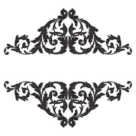 バロック ベクター デザインのヴィンテージの要素。装飾的なデザイン要素フィリグリー書道ベクトル。グリーティング カードとレーザー切断の結