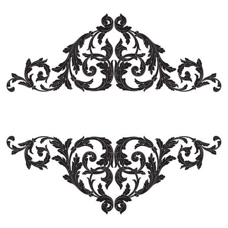 Baroque vector vintage elements for design. Decorative design element filigree calligraphy vector. You can use for wedding decoration of greeting card and laser cutting. Illusztráció