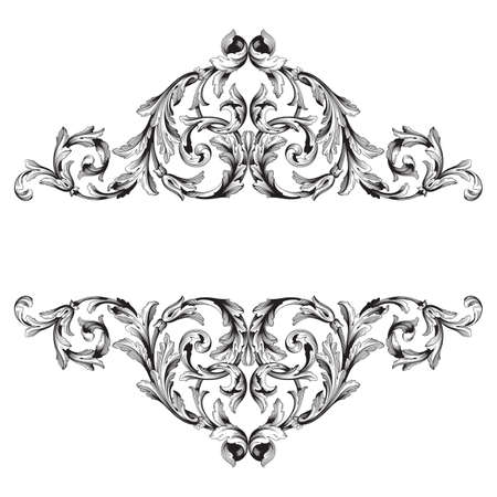 Baroque vector vintage elements for design. Decorative design element filigree calligraphy vector. You can use for wedding decoration of greeting card and laser cutting. Ilustrace