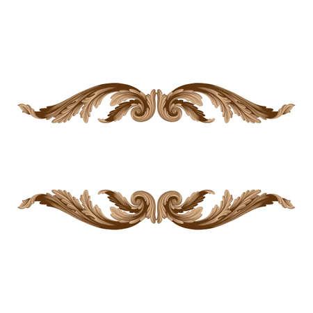 Vintage baroque frame scroll ornament engraving border floral retro pattern antique style acanthus foliage swirl decorative design element filigree calligraphy Illustration