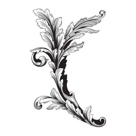 Baroque vintage elements for design. Illustration