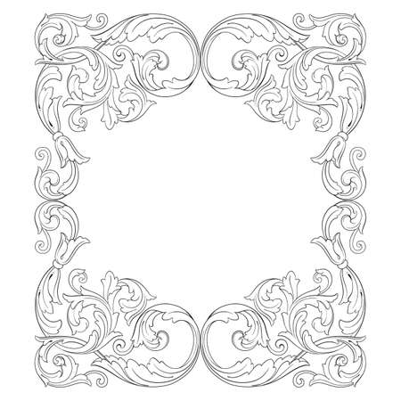 Vintage barok frame scroll sieraad gravure grens floral retro patroon antieke stijl acanthus gebladerte swirl decoratieve ontwerpelement filigraan kalligrafie vector Stock Illustratie