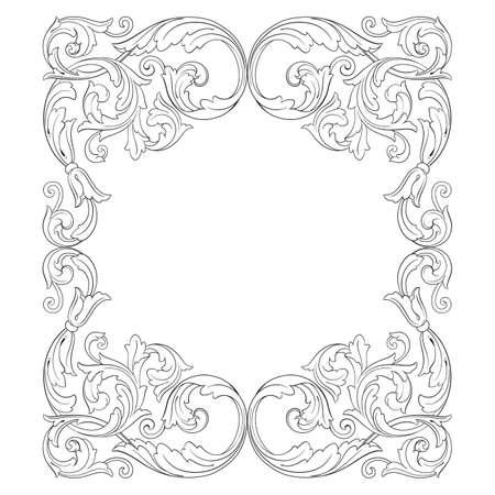 Weinlese barocken Rahmen Scroll Ornament Gravur Grenze floral Retro-Muster im antiken Stil Akanthus Laub wirbeln dekorativ element filigran Kalligraphie Vektor