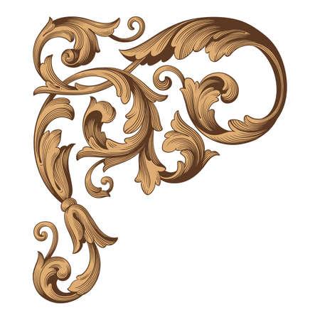 ヴィンテージ バロック フレーム スクロール飾り彫刻ボーダー花。渦巻き模様のレトロ パターン アンティーク スタイル アカンサス葉装飾的なデザ