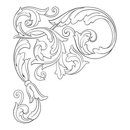 Vintage baroque frame scroll ornament engraving border floral retro pattern antique style. Illustration