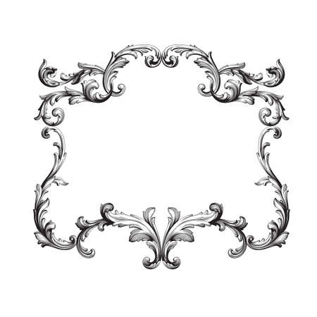 Ornament in baroque style. You can use for wedding decoration of greeting card and laser cutting. Ilustrace