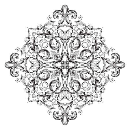 Ornament in baroque style. You can use for wedding decoration of greeting card and laser cutting. Çizim