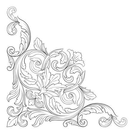 デザインのヴィンテージの要素のバロック様式のベクトル。装飾的なデザイン要素フィリグリー書道ベクトル。グリーティング カードとレーザー切