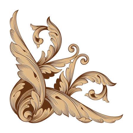 Baroque vector set of vintage elements for design. Decorative design element filigree calligraphy vector.