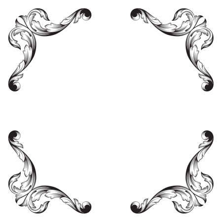 Classical baroque vintage element for wedding greeting card design.