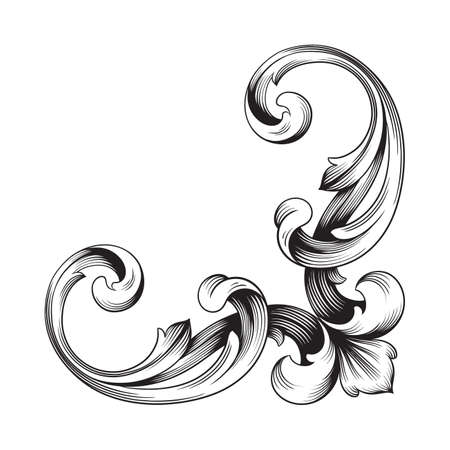 Classical baroque of vintage element for design. Illustration