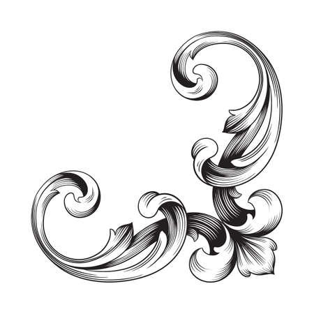Classical baroque of vintage element for design. Vettoriali