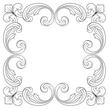Classical baroque of vintage element for design. Illustration