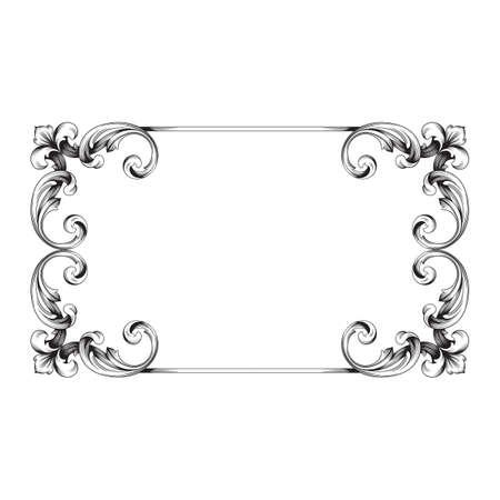 Ornement baroque vintage. Modèle rétro style acanthe antique. Élément de design décoratif en filigrane calligraphie. Banque d'images - 87612485