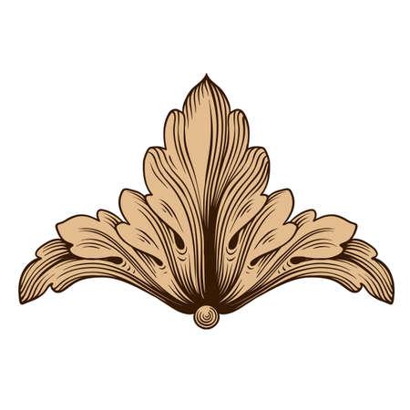Ornement baroque vintage. Modèle rétro style acanthe antique. Élément de design décoratif en filigrane calligraphie. Banque d'images - 87660304