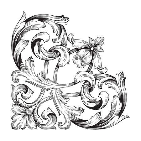 デザインのためのビンテージ要素の古典的なバロック様式のベクトル。装飾的なデザイン要素の細い書道ベクトル。あなたはグリーティングカード