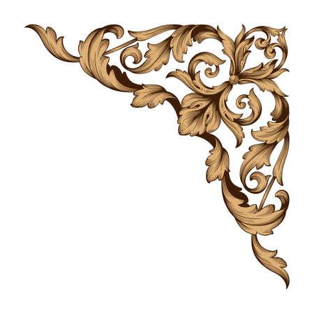 Classical baroque border icon. Vettoriali