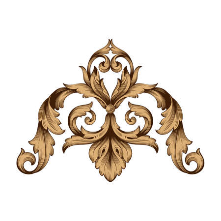 Classical baroque border icon. Illustration