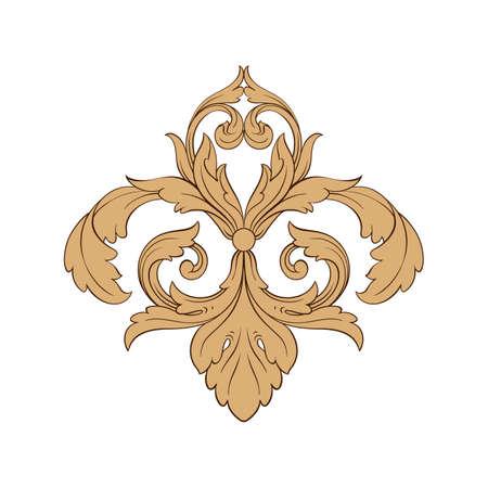 Icono de borde barroco clásico. Ilustración de vector