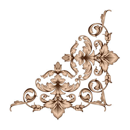 Classical baroque vector of vintage element for design. Decorative design element filigree calligraphy vector. You can use for wedding decoration of greeting card and laser cutting.