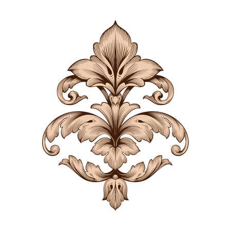 デザインのためのヴィンテージ要素の古典的なバロック様式。装飾的なデザイン要素フィリグリー書道ベクトル。グリーティングカードやレーザー