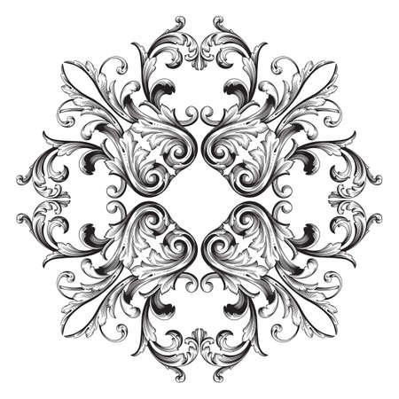 Vintage baroque frame scroll ornament engraving border floral retro pattern antique style acanthus foliage swirl decorative design element filigree calligraphy vector | damask - stock vector Çizim