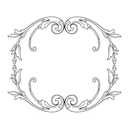 Vintage baroque frame scroll ornament vector illustration