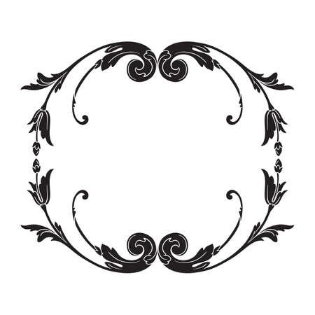 Vintage baroque frame scroll border pattern