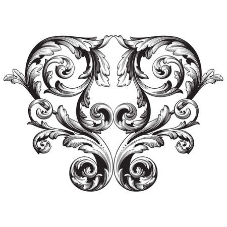Vintage baroque frame scroll ornament engraving border floral retro pattern antique style acanthus foliage swirl decorative design element filigree calligraphy vector, damask - stock vector