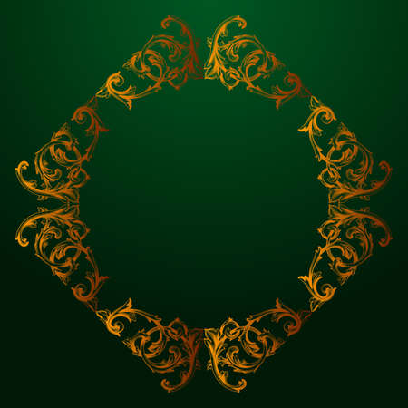 Classical baroque vintage decorative element on green background.