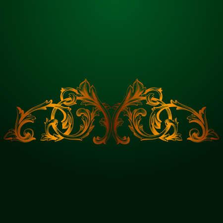 Classical baroque vector of vintage element for design. Decorative design element filigree calligraphy vector. Green background. Illustration
