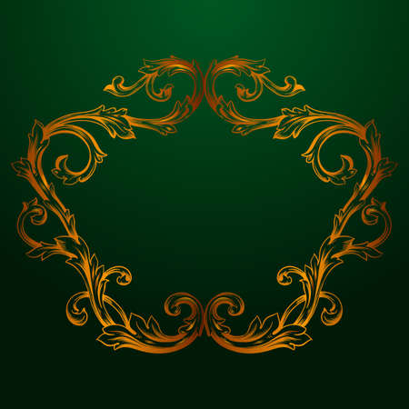 Classical baroque vector of vintage element for design. Decorative design element filigree calligraphy vector. You can use for wedding decoration of greeting card and laser cutting. Green background.