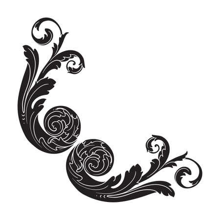 Vintage baroque frame scroll ornament engraving border floral retro pattern antique style acanthus foliage swirl decorative design element filigree calligraphy vector, damask - stock Illustration