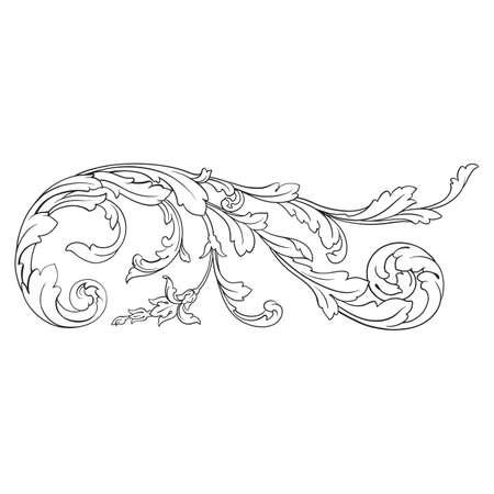 Vintage baroque frame scroll ornament decorative design element. Illustration